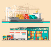 Delivery service concept. Container cargo ship loading, truck loader, warehouse. Royalty Free Stock Images