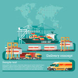 Delivery service concept. Container cargo ship loading, truck loader, warehouse, plane, train. Stock Photo