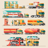 Delivery service concept. Container cargo ship loading, truck loader, warehouse, plane, train. Stock Image