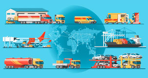 Delivery service concept. Container cargo ship loading, truck loader, warehouse, plane, train. Stock Photos