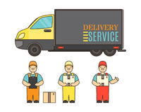Delivery service concept poster in cartoon style. Relocation service company deliver boxes by truck Stock Photography