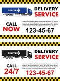 Business taxi service design over white background. Detailed illustration and silhouette of delivery truck. Vector flat Stock Photography