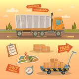 Delivery Service Concept. Worldwide Delivery Truck Royalty Free Stock Image