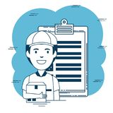 Delivery service with courier lifting box Royalty Free Stock Photo