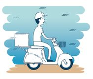 Delivery service with courier in motorcycle Stock Image