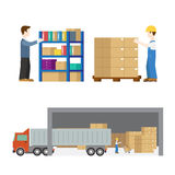 Delivery service deliverymen flat icon set Stock Image