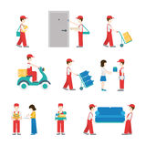 Delivery service deliverymen flat icon set Royalty Free Stock Images