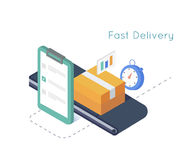 Delivery service and E-Commerce. Package box sealed with tape, clipboard,stopwatch. Isometric illustration delivery concept Stock Images