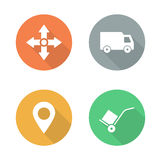Delivery service flat design icons set Stock Image