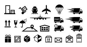 Delivery service flat icons vector set Royalty Free Stock Photo
