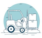 Delivery service with forklift Royalty Free Stock Photos