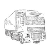 Delivery service. Hand drawn truck. Royalty Free Stock Photo