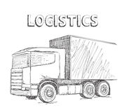 Delivery service. Hand drawn truck. Stock Images