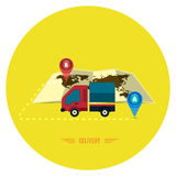 Delivery service 24 hours . Cargo truck symbol. On yellow background Royalty Free Stock Photo