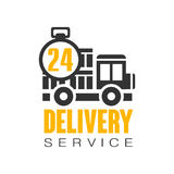 Delivery service 24 hours logo design template, vector Illustration on a white background. Label for stickers, banners, cards, advertisement, tags Royalty Free Stock Photography