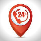 Delivery service with 24 hours pin. Vector illustration design Royalty Free Stock Photo