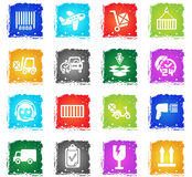 Delivery service icon set. Delivery service web icons in grunge style for user interface design Stock Images