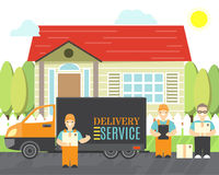 Delivery service icons in cartoon style. Relocation service company deliver boxes by truck. Vector isolated objects.  royalty free illustration