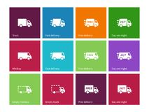 Delivery Service icons on color background. Royalty Free Stock Photography