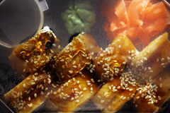 Delivery service Japanese food rolls Royalty Free Stock Photo