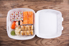 Delivery service Japanese food Royalty Free Stock Images