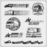Delivery Service labels, emblems, badges and design elements. 24 Hours delivery. Vector monochrome Illustration Royalty Free Stock Photography
