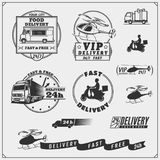 Delivery Service labels, emblems, badges and design elements. 24 Hours delivery. Vector monochrome Illustration Royalty Free Stock Photo