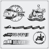 Delivery Service labels, emblems, badges and design elements. 24 Hours food delivery. Vector monochrome Illustration. Vintage style Stock Photography