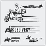 Delivery Service labels, emblems, badges and design elements. 24 Hours food delivery. Vintage styl Stock Image