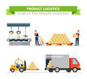 Delivery service logistic flat icons: deliverymen, truck, box Royalty Free Stock Photo
