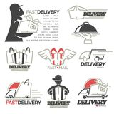 Delivery service mail, food express online shop vector icons set Stock Photo