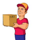 Delivery service man with a box Royalty Free Stock Image