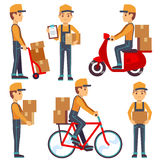 Delivery service man with boxes vector characters set Stock Images