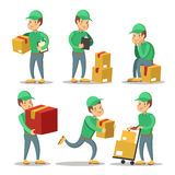 Delivery Service Man Cartoon Character Set. Courier with the Box Royalty Free Stock Photo