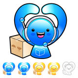 Delivery service man Mascot gesture. Product and Distribution Sy Stock Photo