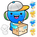 Delivery service man Mascot the hand is holding a big box. Produ Stock Photos