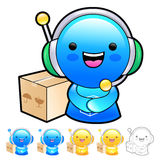 Delivery service man Mascot To answer a phone call orders. Produ Royalty Free Stock Image