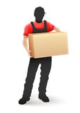 Delivery service man postman in black uniform holding Stock Photography