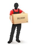 Delivery service man postman in blcak uniform holding Stock Images