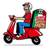 Delivery service man ride a scooter Stock Photography