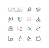 Delivery Service - modern vector single thin line icons set Stock Images