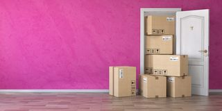Delivery service or moving concept.. Cardboard boxes front of en stock illustration