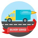 Delivery service placard with car on vector illustration. Delivery service logo design, placard with car moving quickly on highway and red ribbon with headline Stock Photo