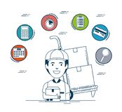 Delivery service set icons Royalty Free Stock Images
