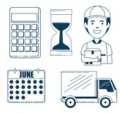 Delivery service set icons Stock Photography