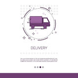 Delivery Service Truck Web Banner With Copy Space. Vector Illustration Royalty Free Stock Photo