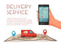 Delivery service by van. Car for parcel delivery. Cartoon vector illustration. Fast delivery truck or lorry. Car on the map vector illustration