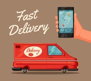 Delivery service by van. Car for parcel delivery. Cartoon vector illustration. Fast delivery truck or lorry. Concept for web or print vector illustration