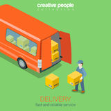 Delivery service van flat 3d web isometric infographic concept Royalty Free Stock Image