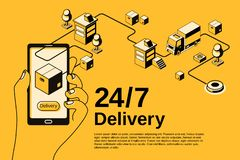 Delivery service 24 7 vector halftone illustration royalty free illustration